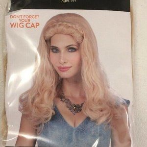 Wavy Wig With Braids Costume Adult NEW